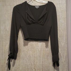 Bebe black crop top with sheer sleeves